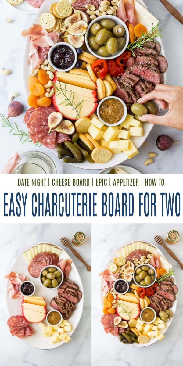 pinterest image for charcuterie board for two