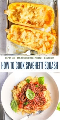 A collage of two images of spaghetti squash pasta with the photo on the bottom featuring sauce