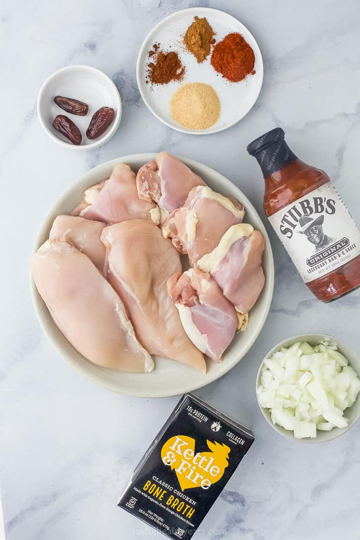 ingredients for shredded instant pot bbq chicken recipe