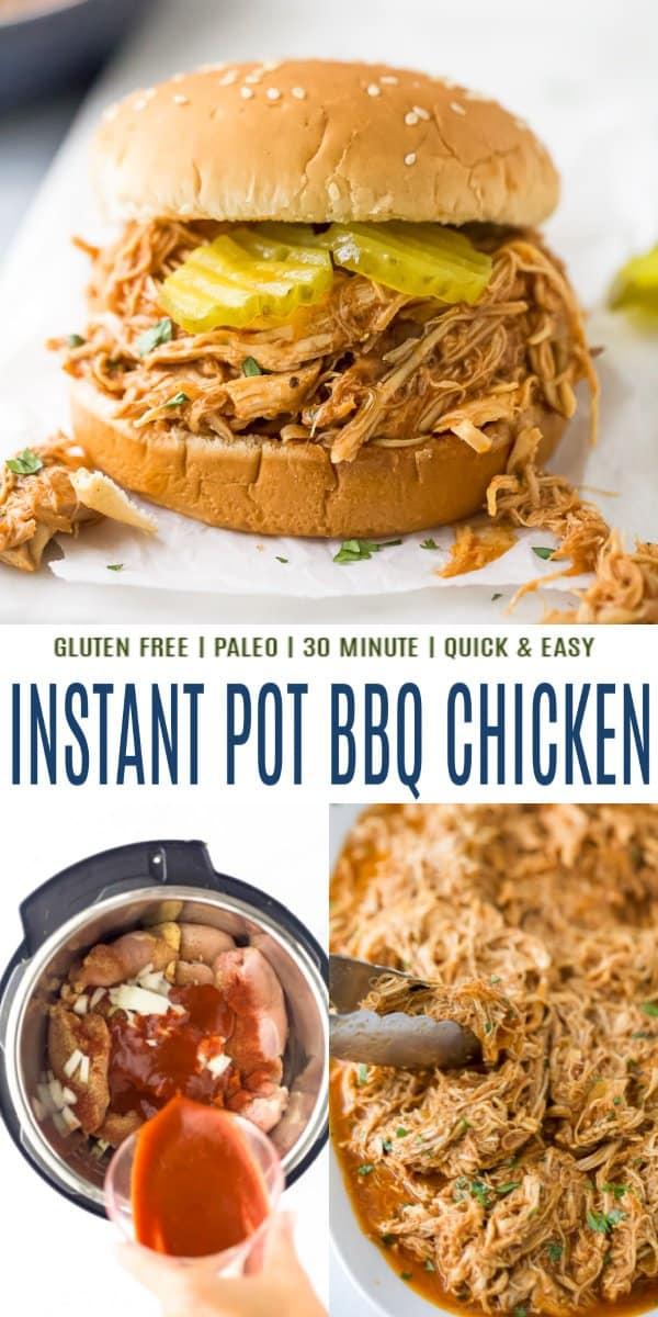pinterest image for instant pot bbq chicken recipe