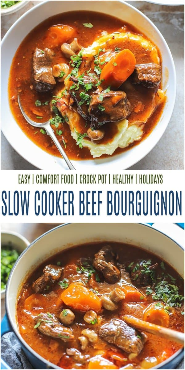 pinterest image for The Best Slow Cooker Beef Bourguignon