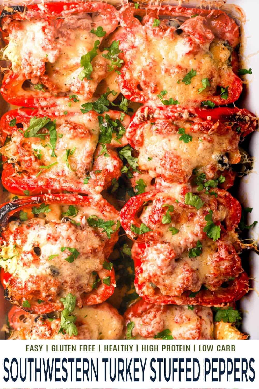 pinterest image for southwestern turkey stuffed peppers