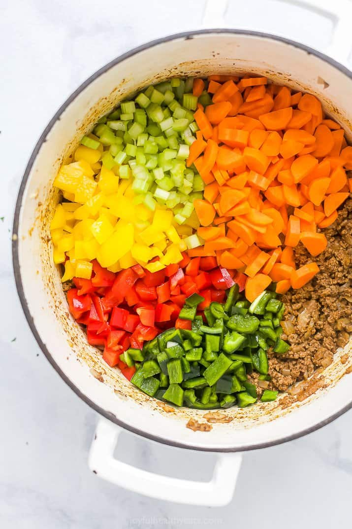 dutch oven with sauteed beef and vegetables