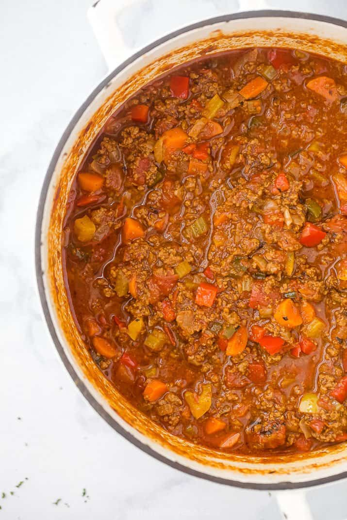 whole30 beef chili in a dutch oven