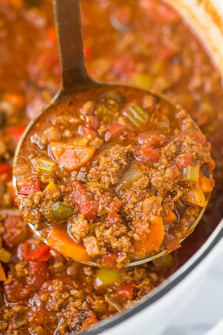 ladle filled with whole30 beef chili