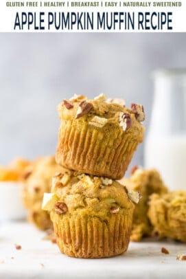 pinterest image for apple pumpkin muffins