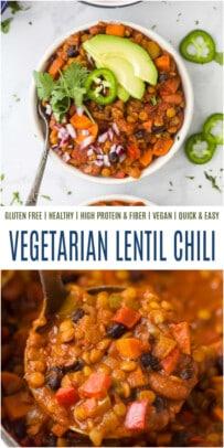 pinterest image for Vegetarian Lentil Chili Recipe